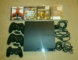 PS3 160GB + 3 Controllers and 5 Games