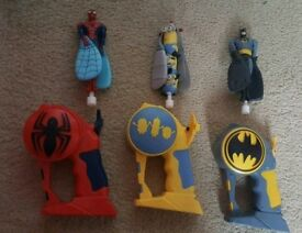 Flying heroes batman Spider-Man and minions