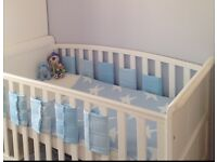 White sleigh cot/cot bed