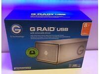 **NEW SEALED - G-RAID GRAID G-TECHNOLOGY 8TB - USB 3 3.0 RAID EXTERNAL HARD DRIVE - 0G04070**