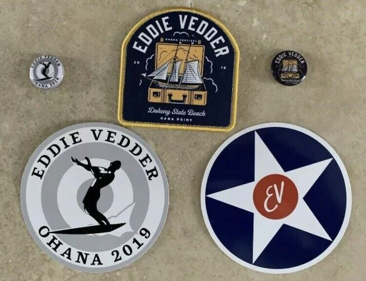Eddie Vedder Ohana Fest 2019 Merch Pack Stickers Buttons Patch Set NEW Pearl Jam