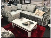 Chesterfield Left Hand Corner Sofa Crushed Velvet Sofa - Fast & Free 2 Man delivery within 50 miles