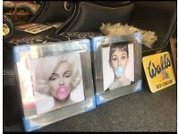 NEW pair of Marilyn and Audrey mirror framed pictures