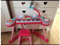 ELC pink keyboard microphone and drum set