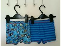 2 pairs of boys blue swimming trunks aged 2-3