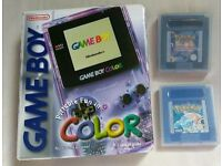 Boxed gameboy colour atomic purple with pokemon blue/tcg