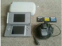 Silver Nintendo DS + Case + Games