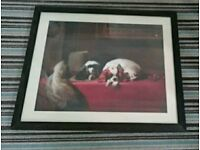 Framed print of Edwin Landseer's famous painting The Cavalier's Pets Cavalier King Charles Spaniel