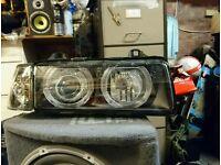 BMW 3 Series E36 Saloon Black Angel Eye Halo Projector Head Lights Pair