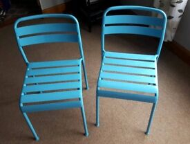 2 x Blue Metal Chairs