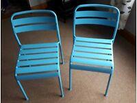 2 x Blue Metal Chairs