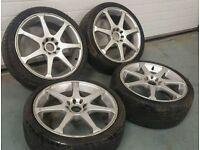 "Innovit 17"" 4x100 4x108 alloy wheels + 2 tyres! Ford vauxhall citreon honda toyota mg vw"