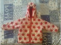 Toby Tiger Apple print padded coat age 2-3yrs