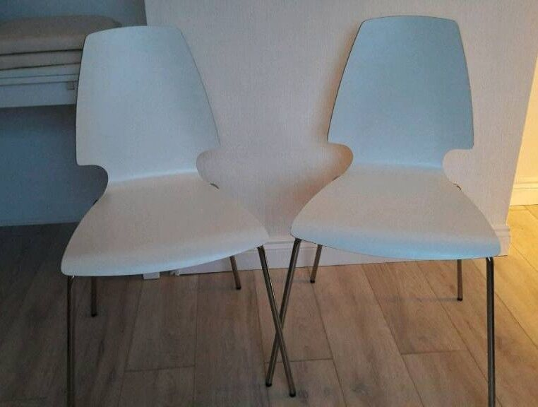 "Set of 2 Ikea ""Vilmar"" White Chairs"