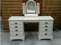 Shabby chic bedroom set complete wardrobe, dressing table, besides and dresser drawers