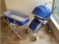 Bebe Comfort 'Marine Blue' Folding Pushchair with Matching Carry Cot & Stand