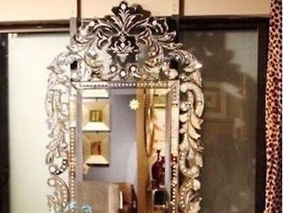 NEW Designer VENETIAN Crown Arch Engraved Scroll Wall Vanity Hall XL Mirror 56""