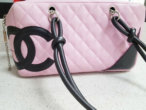 Authentic CHANEL Pink Ligne Cambon Quilted Pochette Purse