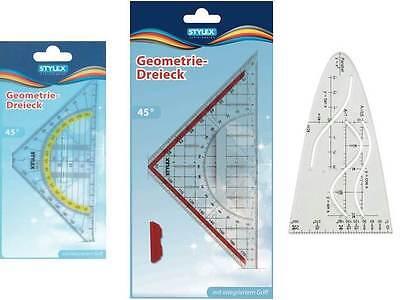 3 tlg. Geoset Geodreiecke mit Griff klein+groß+ Parabel Stylex Geometriedreieck