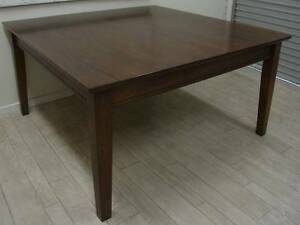 SQUARE DARK STAINED TIMBER DINING TABLE (SEATS 8 - NO CHAIRS) Melbourne Region Preview