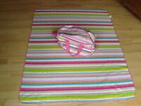 Cute Preppy Stripe Baby Duffle Bag & Large Soft Matching Blanket