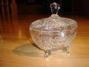 Older Crystal Etched & Frosted Candy Dish W/ Legs -Mint Shape Kitchener / Waterloo Kitchener Area image 1
