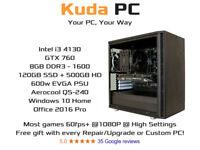 KUDA GAMING PC - i3 4130 - GTX 760 - 8GB DDR3 - 128GB SSD + 500GB HD - WIN 10 - Office 2016 Pro