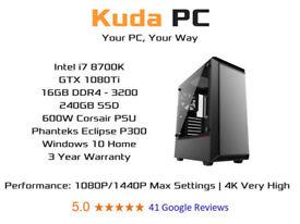 KUDA GAMING PC - i7 8700K - 16GB DDR4 - GTX 1080Ti - 240GB SSD - WIN 10 - VR READY - 3 YEAR WARRANTY