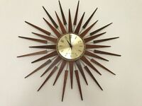 SOLDMid century sunburst clock vintage retro
