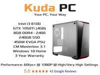 KUDA GAMING PC - i3 8100 - GTX 1050Ti - 8GB DDR4 - 240GB SSD - WIN 10 - 3 YEAR WARRANTY