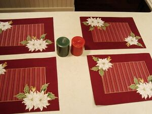 Christmas Set of 4 Dual Sided Cotton Placemats and 2 Candles Kitchener / Waterloo Kitchener Area image 4