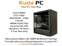 KUDA GAMING PC - G4560 - GTX 1050 - 8GB DDR4 - 1TB HD - WIN 10 - 3 YEAR WARRANTY - SPECIAL OFFER