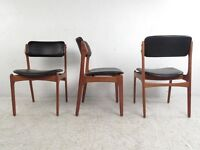 Very rare Set of 6 Vintage Danish Erik Buch model 49 rosewood chairs. Delivery. Modern / Midcentury.