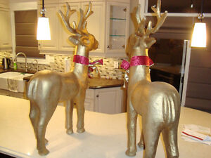 """Pair 37"""" Christmas Reindeer -Gold Paper Mache-The Pair for $70 Kitchener / Waterloo Kitchener Area image 6"""