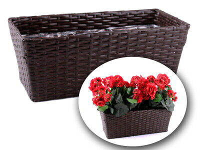 Outdoor Patio Planters (Polly Rattan  Flower PlantPot Indoor Outdoor Garden Patio Planters)