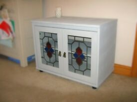TV Unit (Grey with Stained Glass Effect Windows)