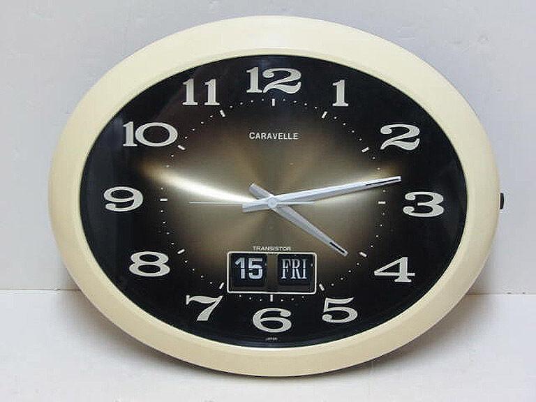 "vintage CARAVELLE  15"" Electronic Wall Clock FLIP Calendar JAPAN  Perfect"