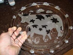 Cow Print Design Hand Blown Glass Cheese/Meat Tray w/ Glass Dome Kitchener / Waterloo Kitchener Area image 4