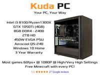 KUDA GAMING PC - i3 8100 - GTX 1050Ti 4GB - 8GB DDR4 - 2TB HD - WIN 10 - 3 YEAR WARRANTY