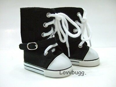 "Lovvbugg Black Knee High Sneakers Boots for 18"" American Girl or Boy or Bitty Baby Doll Shoes"