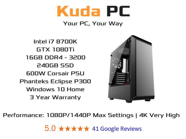 KUDA GAMING PC - i7 8700K - 16GB DDR4 - GTX 1080Ti - 240GB SSD - WIN 10 -  VR READY - 3 YEAR WARRANTY   in Dennistoun, Glasgow   Gumtree