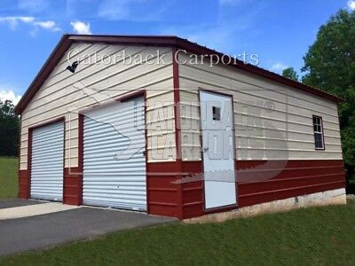 Steel 2 Car Garage Carport Workshop 24x26x9 Metal Building Free Delivery Setup