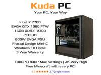 KUDA GAMING PC - i7 7700 - 16GB DDR4 - EVGA GTX 1080 - VR READY - 3 YEAR WARRANTY - SPECIAL OFFER