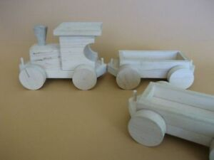 Wooden Toy Train with Engine and 2 Wagons.