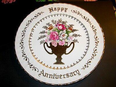 NORCREST Vintage Happy Anniversary Plate Floral Bouquet Gold Leaf B-708 Excellen