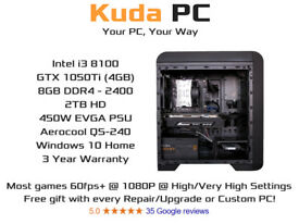 KUDA GAMING PC - i3 8100 - GTX 1050Ti 4GB - 8GB DDR4 - 2TB HD - 3 YEAR WARRANTY - WIN 10 - DELIVERY