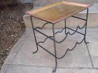 Small Copper and wrought Iron Plant stand OR Wine bottle Holder