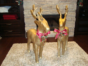 """Pair 37"""" Christmas Reindeer -Gold Paper Mache-The Pair for $70 Kitchener / Waterloo Kitchener Area image 1"""