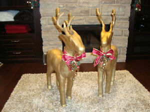 """Pair 37"""" Christmas Reindeer -Gold Paper Mache-The Pair for $70"""