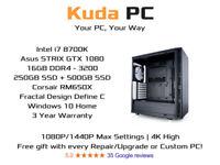 KUDA GAMING PC - i7 8700K - 16GB DDR4 - GTX 1080 - 250GB SSD + 500GB SSD - 3 YEAR WARRANTY - WIN 10